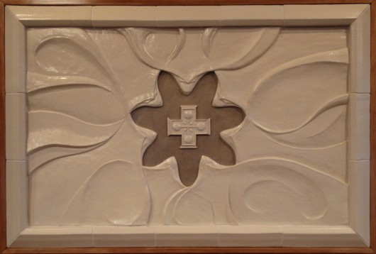 SEVEN DOVES OF THE SPIRIT ALTARPIECE--glazed stoneware, 48''x28''x6'', commissioned for Rocky Mountain Mennonite Chapel.